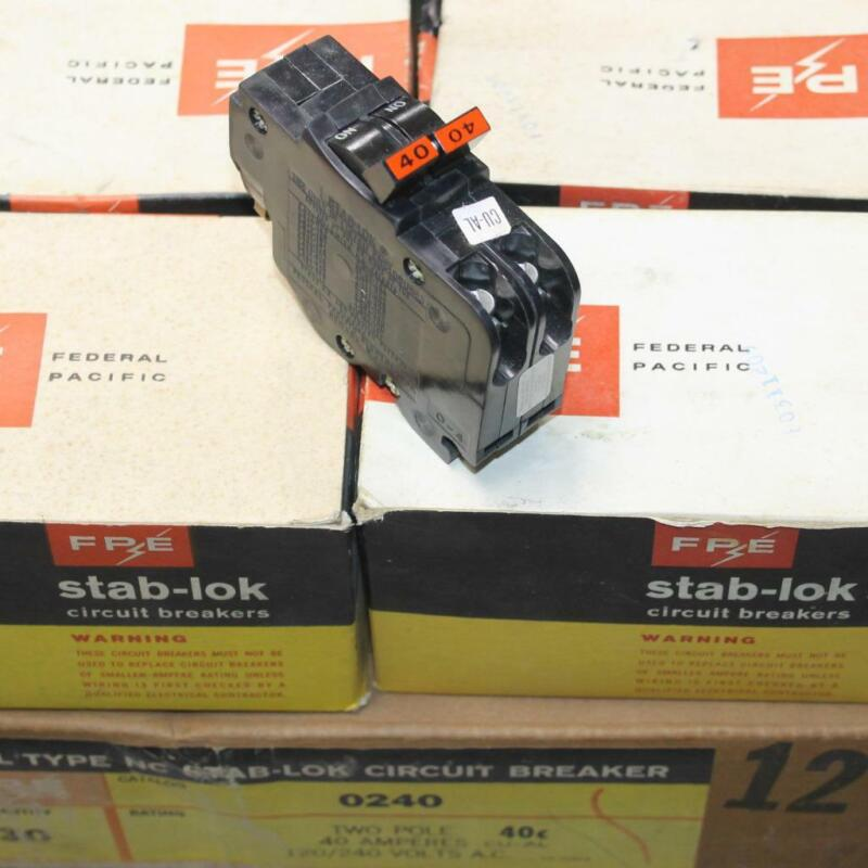 New Genuine FPE Federal Pacific Stab-Lok 2 Pole 40 Amp NC240 Thin Breaker NOS