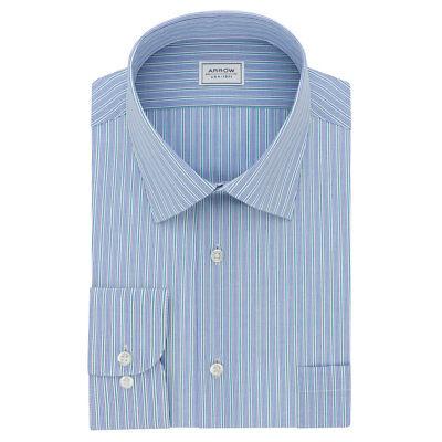 New Arrow Men's Athletic-Fit Spread-Collar Blue Striped Dress Shirt MSRP (Arrow Striped Dress Shirt)