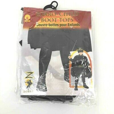 Zorro Costume Kids (Zorro Child Boot Tops Gloves Mask Set Black Costume Halloween Theater Kids)