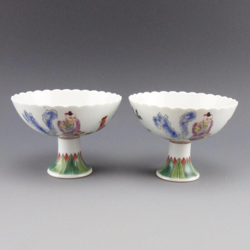 Pair of Chinese Famille Rose Stem Cups Guangxu Blue Underglaze Mark 大清光緒年製