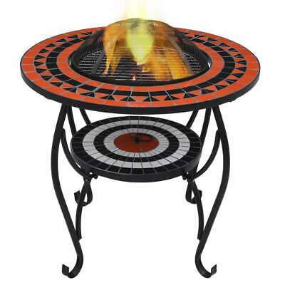 vidaXL Mosaic Fire Pit Table Terracotta and White Ceramic Barbecue Fireplace