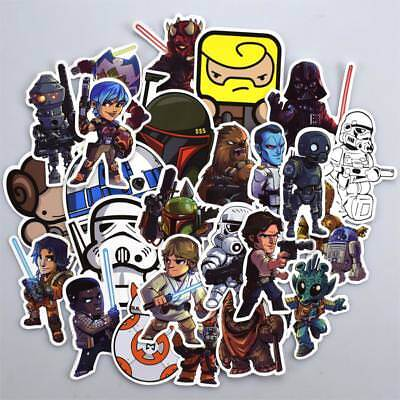50 pcs Chibi Star Wars Heroes Sticker Decals for Skateboard Luggage Laptop