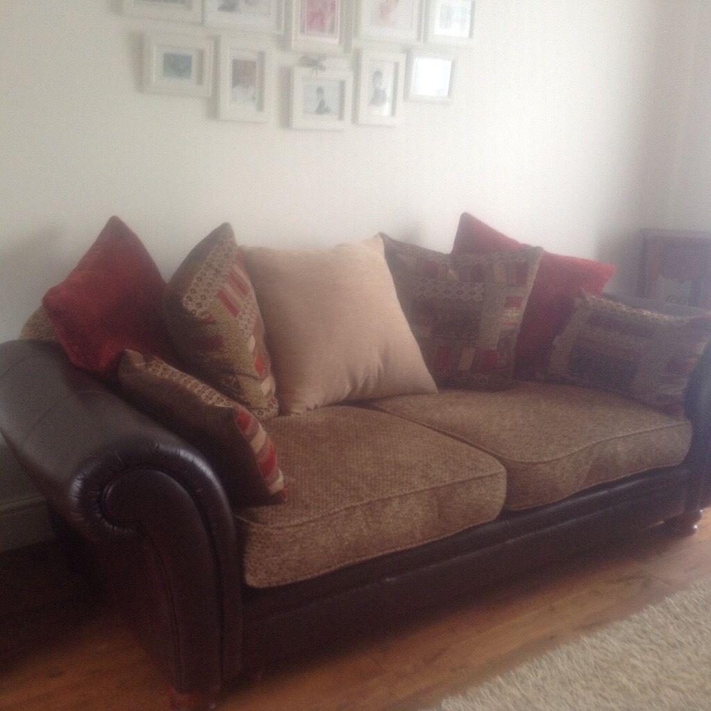 dfs perez 3 seater sofa armchair footstool leather fabric in llanrumney cardiff gumtree. Black Bedroom Furniture Sets. Home Design Ideas