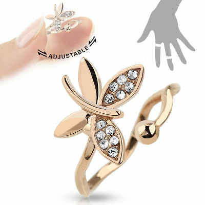 Rose Gold Plated Multi-Paved CZ Gem Butterfly Adjustable Mid Ring / Toe Ring