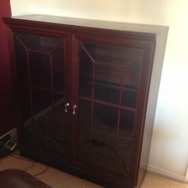 Dark wood display cabinet with shelves and light fittings
