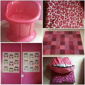 Pink bedroom items