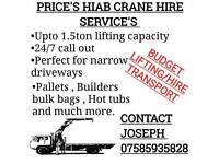 Hiab crane lifting and transport hire