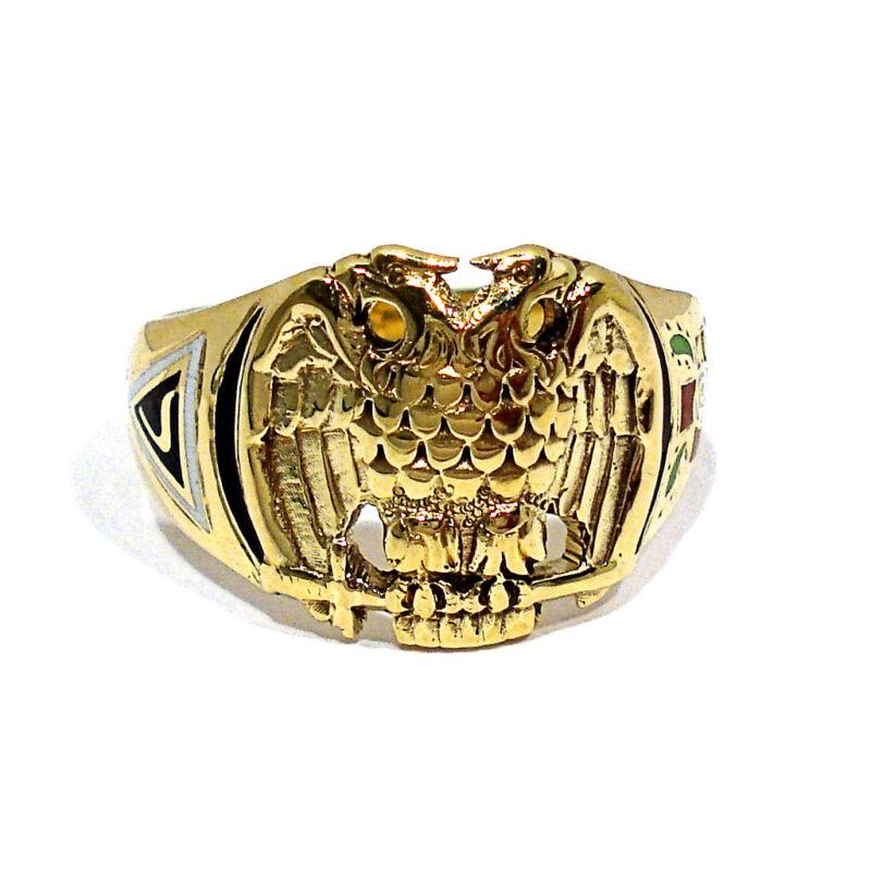 SOLID 14K YELLOW GOLD SCOTTISH RITE MASONIC RING ~ SIZE 11 1/2