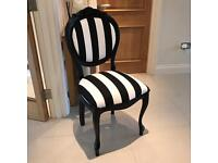 Vintage Dressing Room Dining Bedroom Living Room Chair Shabby Chic French Stripe