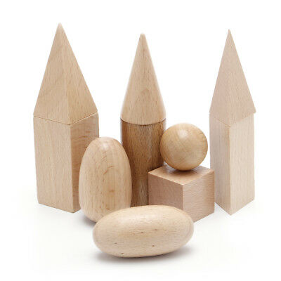 Wooden Geometric Solids 3-D Shapes Montessori Learning Resources for School Home - Shapes 3d