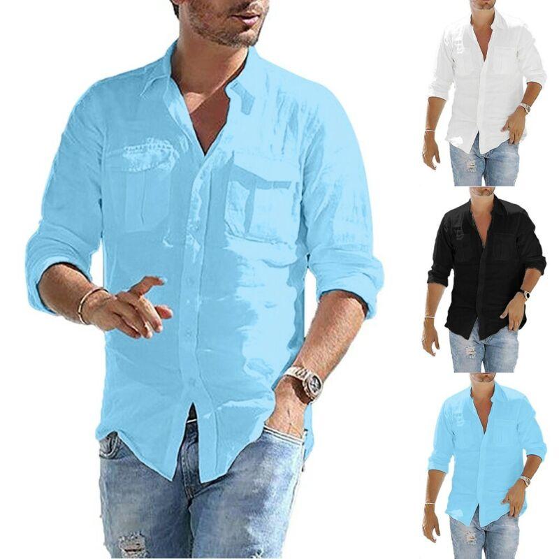 Men's Baggy Retro Cotton Linen Pocket Solid Long Sleeve T Sh