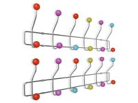 Colourful Wall Peg Board with 12 Hooks 2 pcs-141144