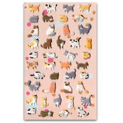 - CUTE CAT STICKERS Kitty Raised Puffy Vinyl Sticker Sheet Craft Scrapbook Kawaii