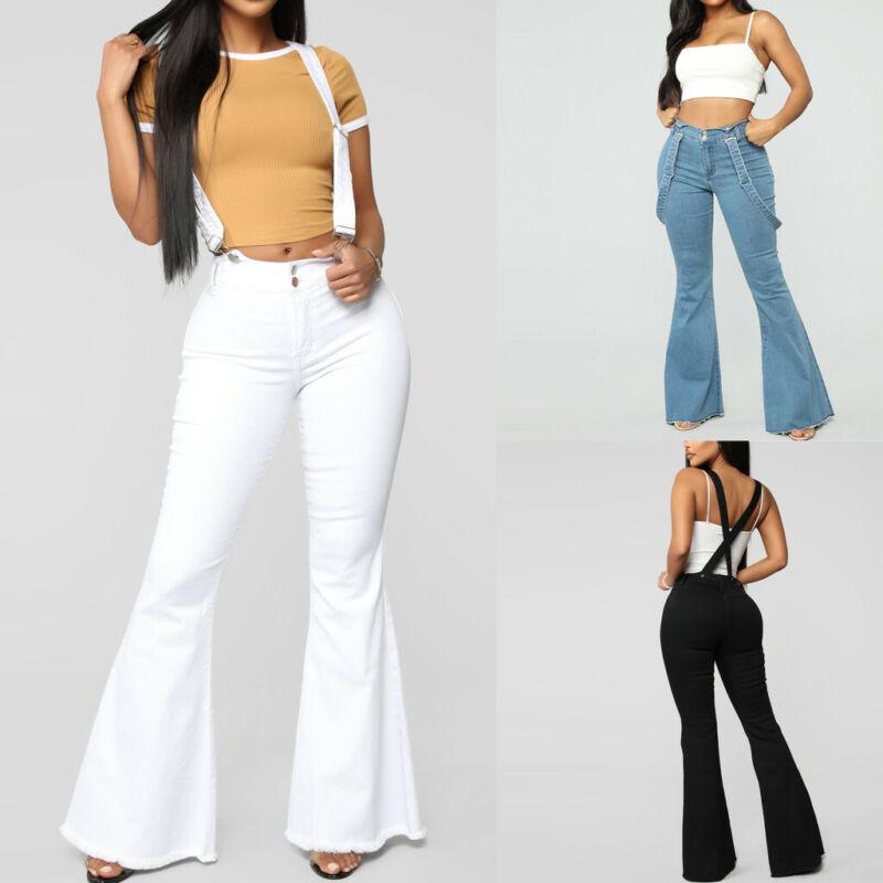 Women High Waist Zipper Jeans Button Strap Flare Pant Trouse