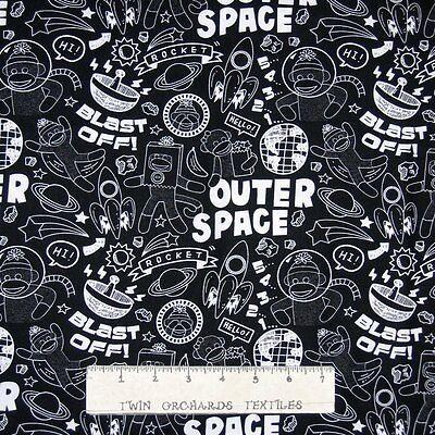 Nursery Baby Fabric - Sock Monkey in Space Chalkboard Words - Windham YARD - Space Monkey Costume
