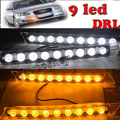 2x Car 9LED White Daytime Running Light DRL Amber Turn Signal Lamp 12V