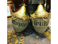 Pair of chandeliers, brass and glass.
