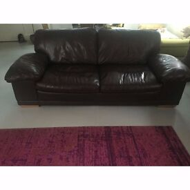 Ashton Large Brown Leather Teater Sofa with Rustic Oak Feet