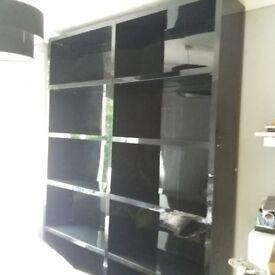 NEXT - black gloss bookcases/shelving unit