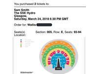 Sam Smith Tickets Glasgow March 24th