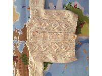 Unisex Hand Knitted Cream / Beige Cardigan 0-3 Months