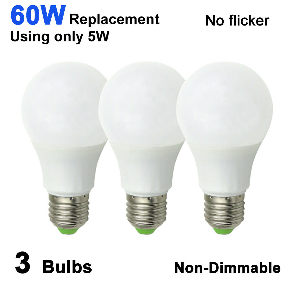 3pcs LED Light Lamp E27 A19 AC/DC 12-24V 5W Globe Bulb White