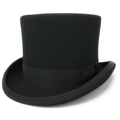 Black Wool Felt Traditional Top Hat. Satin Lined. Cotswold Country Hats 5½