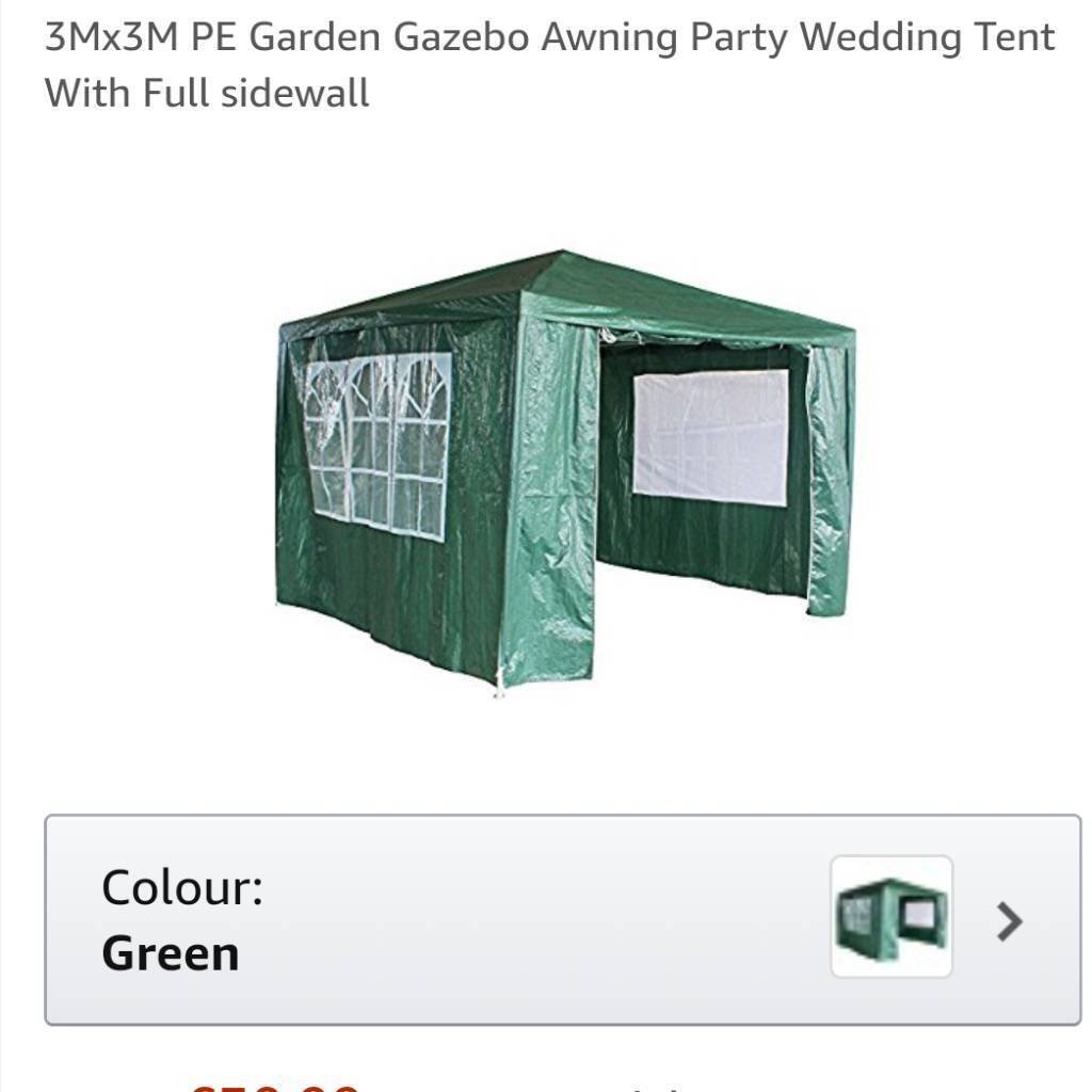 3M by 3M Gazebo with side panels Brand new in box