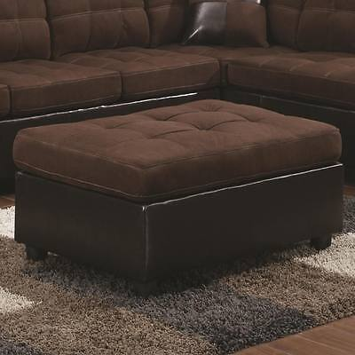 Mallory Dark Brown Faux Leather &  Microfiber Cocktail Ottoman by Coaster 505656