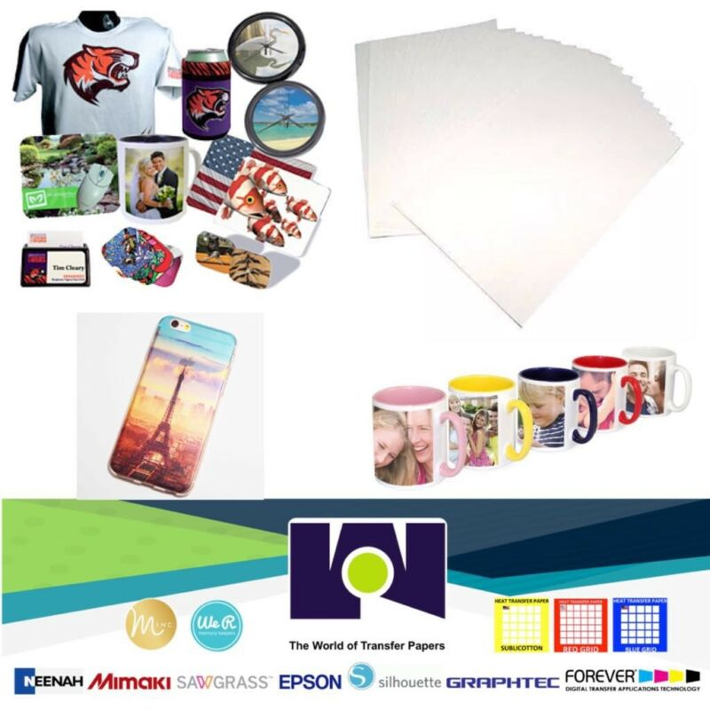 """100 Sheets 8.5x11"""" Dye Sublimation Heat Transfer Paper for Mug Cup Plate T-Shirt"""
