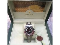 Silver Rolex GMT Master Cola with Red/Black Bezel and Black Face in Rolex Bag and Rolex Box