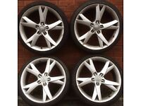 Audi 19 inch alloy wheels tyres A4 A3 vw Golf Passat Caddy Scirocco Jetta Seat Leon Skoda 18 alloys