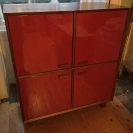 Freestanding Walnut Cabinet with Red Lacquered Doors