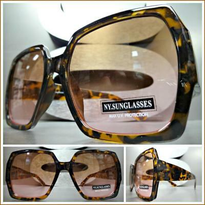 OVERSIZED VINTAGE RETRO Style SUN GLASSES Tortoise Frame Brown & Pink Ombre (Pink Lens Glasses)
