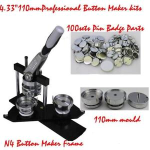 "DIY Button maker kit 4.33"" 110mm Badge Maker+100 Pin back Button 015342"