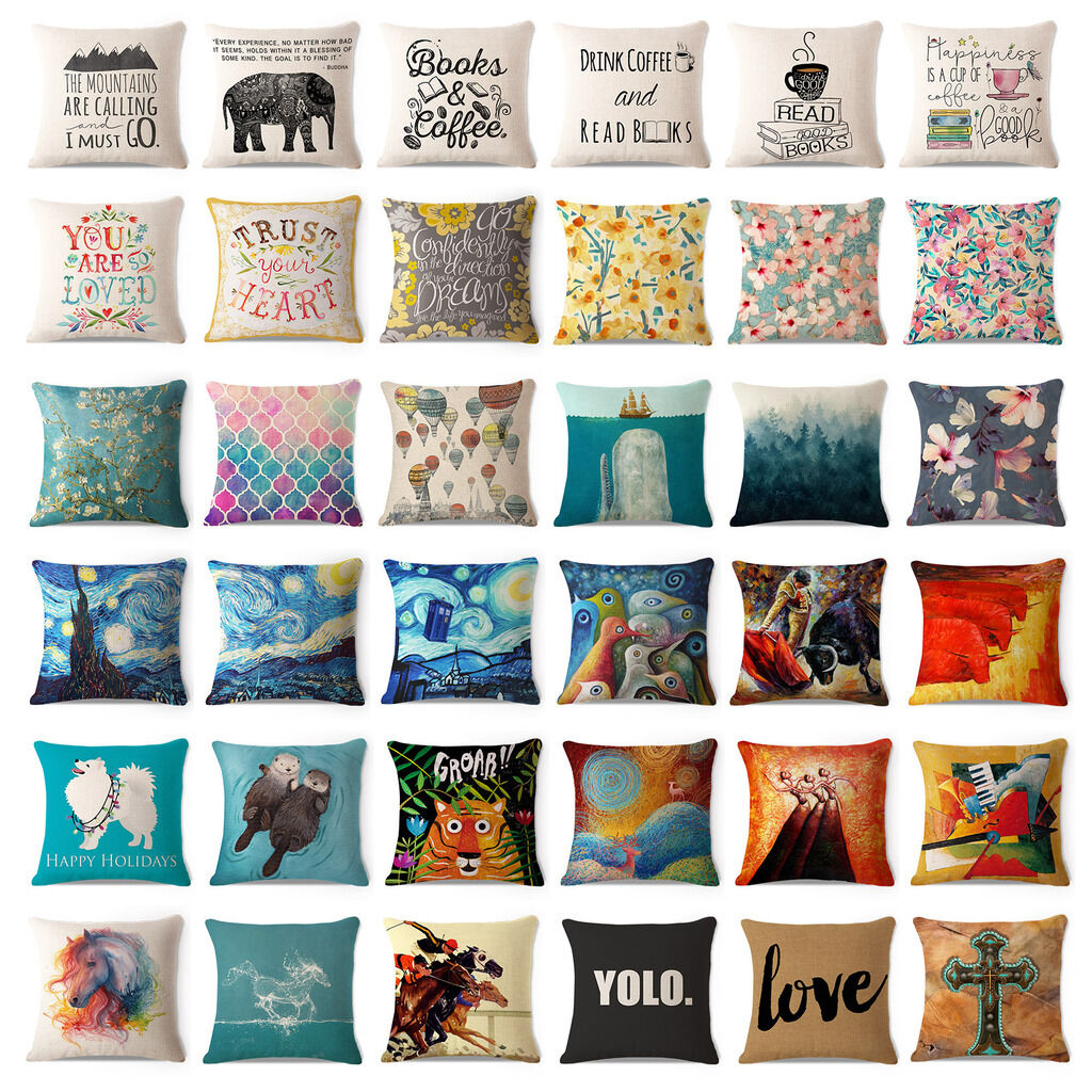 Art Animal Decorative Cotton Linen Throw Pillow Case