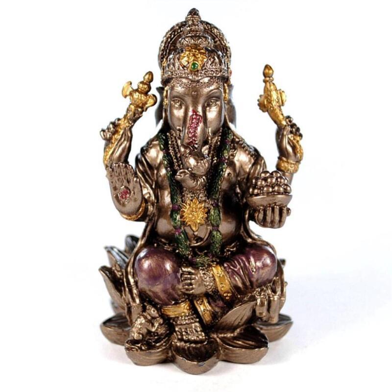 "SMALL GANESHA STATUE 3"" Mini Hindu Elephant God Miniature Resin NEW Lord Ganesh"