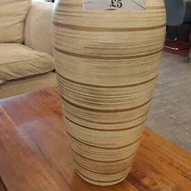 Beige Striped China Flower Vase.