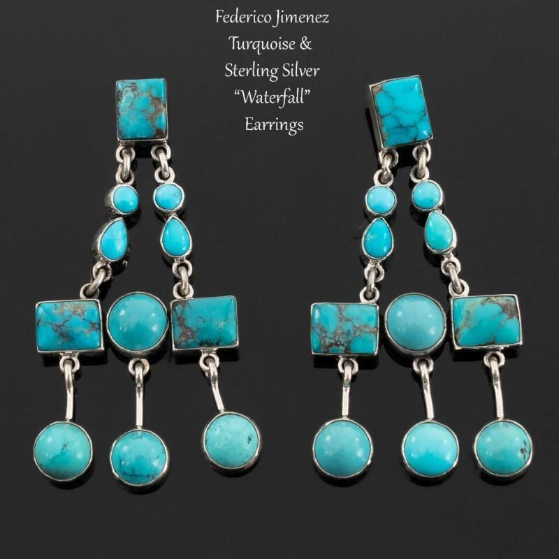 """FEDERICO JIMENEZ Earrings Turquoise """"Chandelier"""" Sterling Silver FRIDA KHALO"""