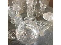 Vintage mixed lot of cut glass items
