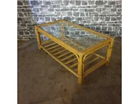 Mid-Century Low and Long Bamboo Coffee Table Transparent Glass Top