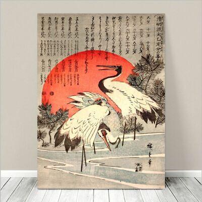 "Beautiful Japanese Floral Art ~ CANVAS PRINT 36x24"" Cranes Red Sun Koson"