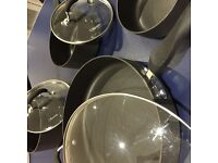 7 piece high quality Anodised Aluminium non-stick cooking pan set