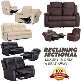 BELLA XY-8247 Luxury Bonded Leather Recliner Sofa Set 3+2+1 (Black,Cream & Brown)