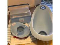 Mothercare Little Beep Beep bath, changing mat and storage box