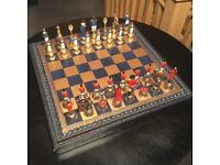 Chess Set - Small Napoleon Hand Painted Cast Metal Figures - Unused & Boxed £35