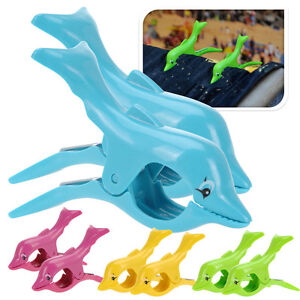Towel Clips Sun Lounger Beach Wind Sunbed Plastic Dolphin Pegs Fun Pool Cruise