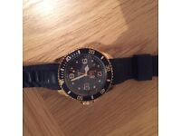 Ladies navy ICE watch, gold trim detAil, large face