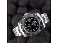 New black dial green ceramic bezel silver oyster bracelet Rolex Day date Mens watch automatic sweep