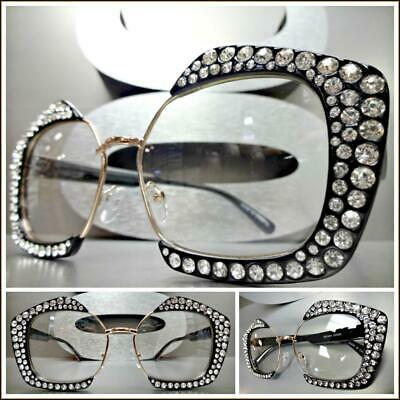 OVERSIZED EXAGGERATED Clear Lens EYE GLASSES Bling Crystals Funky Fashion (Oversized Clear Glasses)